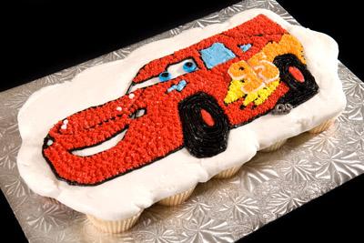 http://www.cremedelacakes.ca - Cars - Lightning McQueen Cupcake Cake