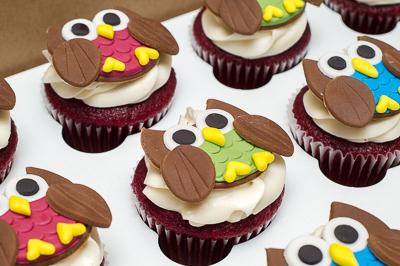 http://www.cremedelacakes.ca - Owl Cupcakes