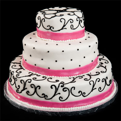 https://www.cremedelacakes.ca - 3-tier Wedding Cake with Fondant Bands and Black Swirls
