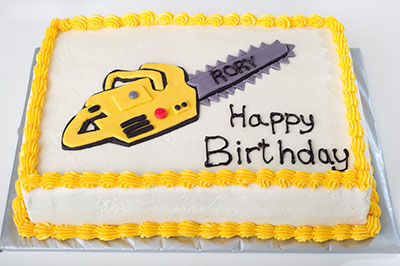 https://www.cremedelacakes.ca - Chainsaw Cake